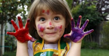 messy hands, messy child, finger painting, fam frenzy